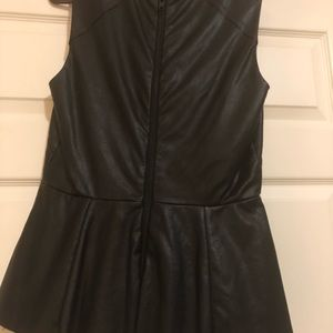 Black leather top, back zipper